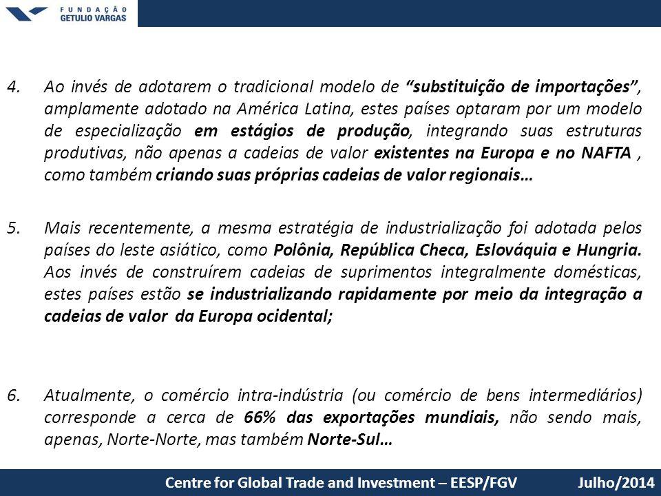 """4.Ao invés de adotarem o tradicional modelo de """"substituição de importações"""", amplamente adotado na América Latina, estes países optaram por um modelo"""