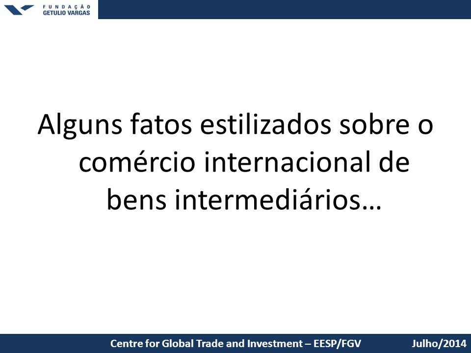 Alguns fatos estilizados sobre o comércio internacional de bens intermediários… Julho/2014Centre for Global Trade and Investment – EESP/FGV