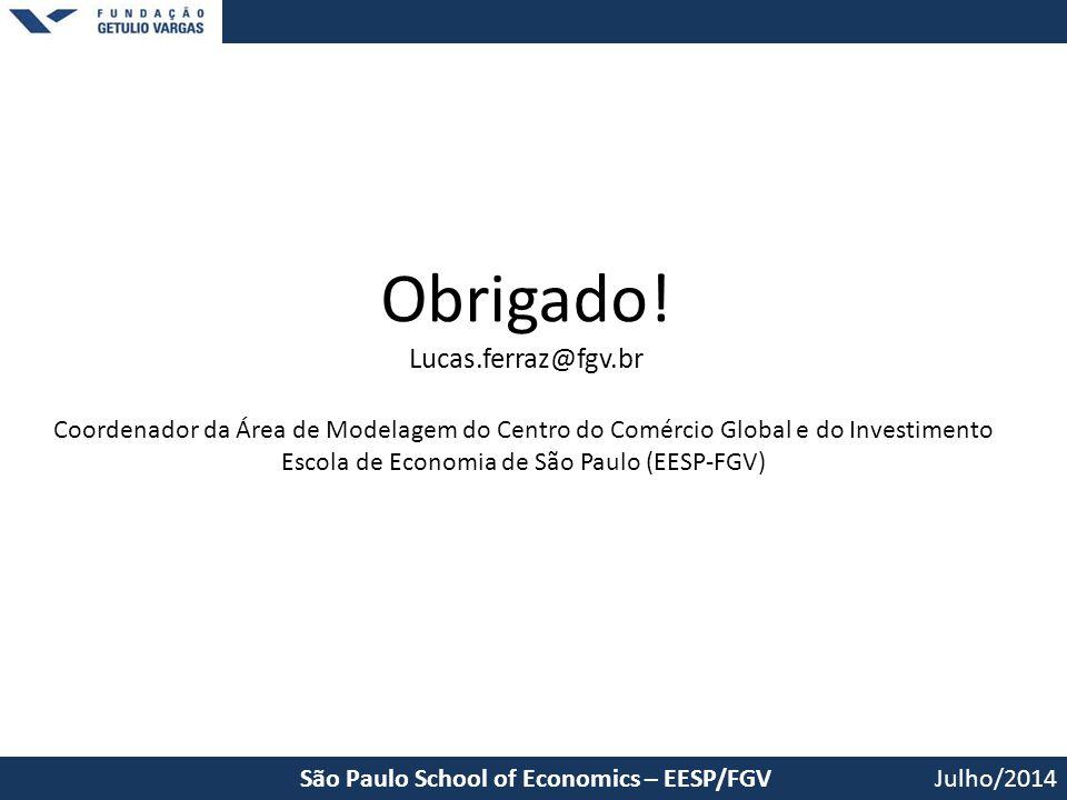 Obrigado! Lucas.ferraz@fgv.br Julho/2014São Paulo School of Economics – EESP/FGV Coordenador da Área de Modelagem do Centro do Comércio Global e do In