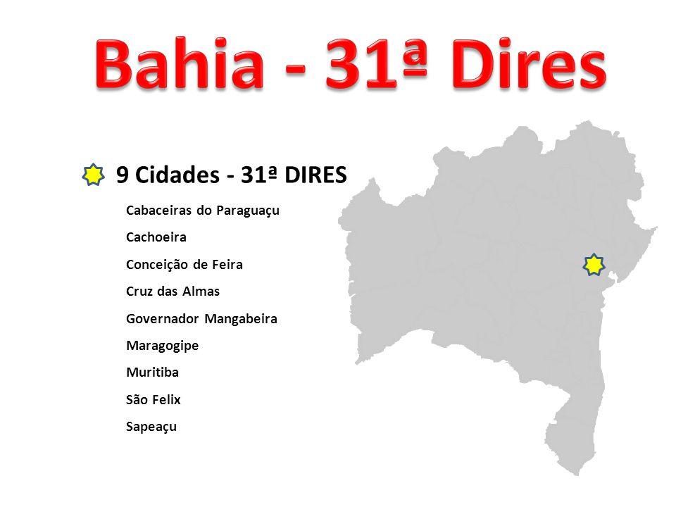 9 Cidades - 31ª DIRES Cabaceiras do Paraguaçu Cachoeira Conceição de Feira Cruz das Almas Governador Mangabeira Maragogipe Muritiba São Felix Sapeaçu