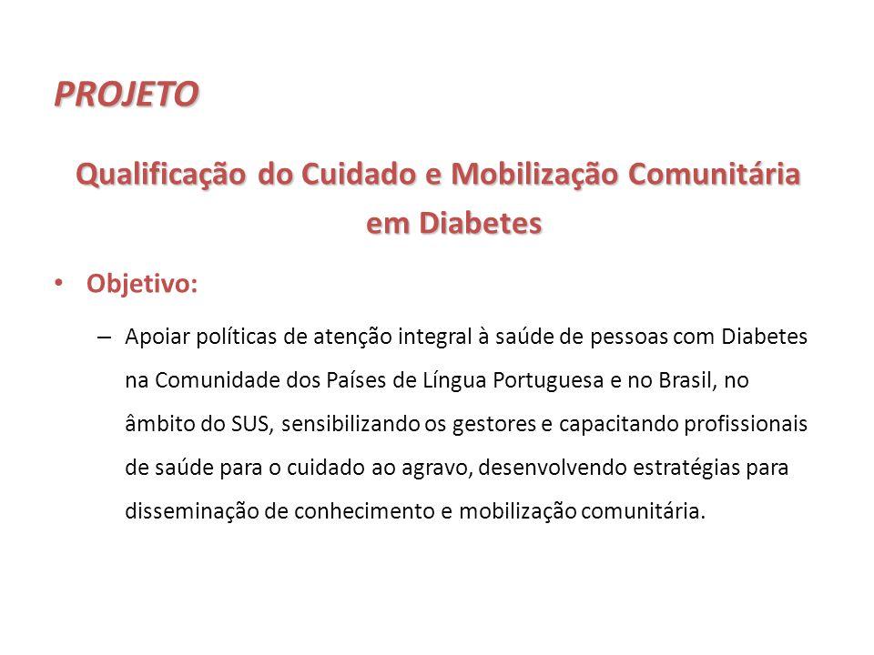 PROJETO Objetivo: – Apoiar políticas de atenção integral à saúde de pessoas com Diabetes na Comunidade dos Países de Língua Portuguesa e no Brasil, no