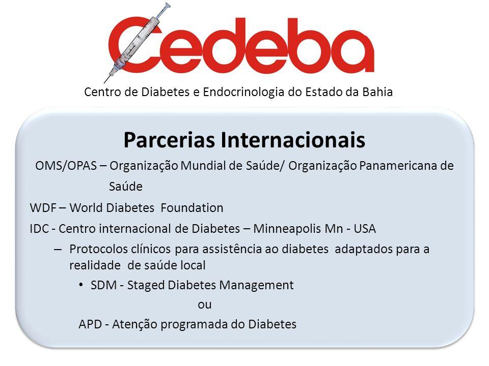 Parcerias Internacionais OMS/OPAS – Organização Mundial de Saúde/ Organização Panamericana de Saúde WDF – World Diabetes Foundation IDC - Centro inter