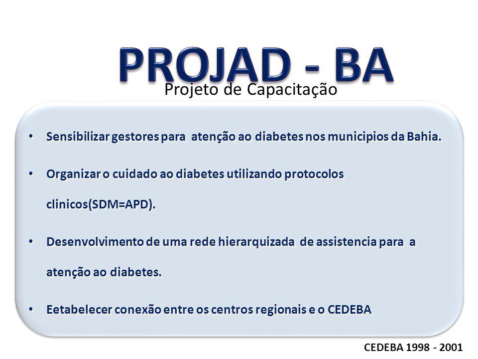 CEDEBA 1998 - 2001 Projeto de Capacitação Sensibilizar gestores para atenção ao diabetes nos municipios da Bahia. Organizar o cuidado ao diabetes util