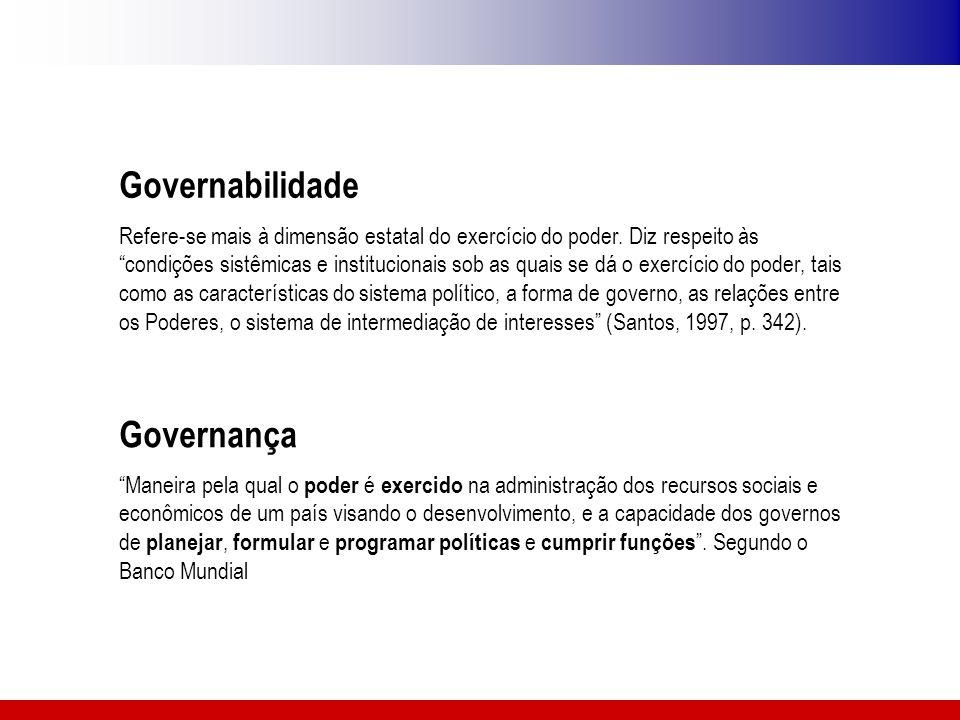 """Governança """"Maneira pela qual o poder é exercido na administração dos recursos sociais e econômicos de um país visando o desenvolvimento, e a capacida"""