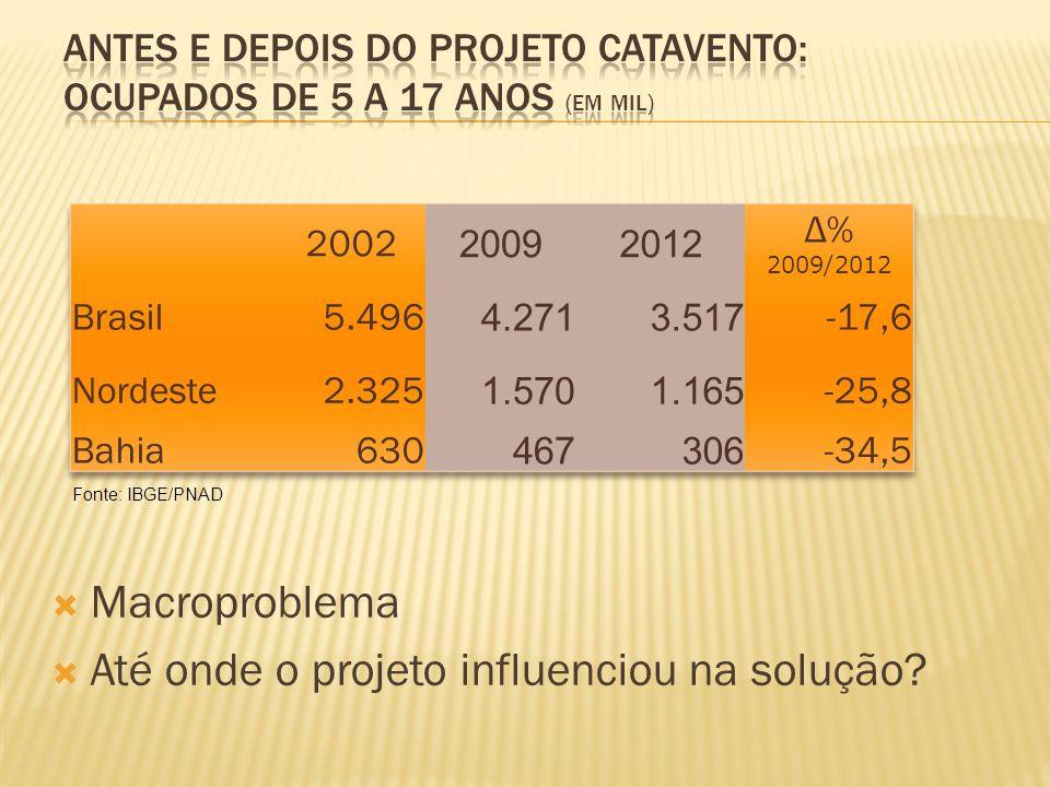 Fonte: IBGE/PNAD  Macroproblema  Até onde o projeto influenciou na solução