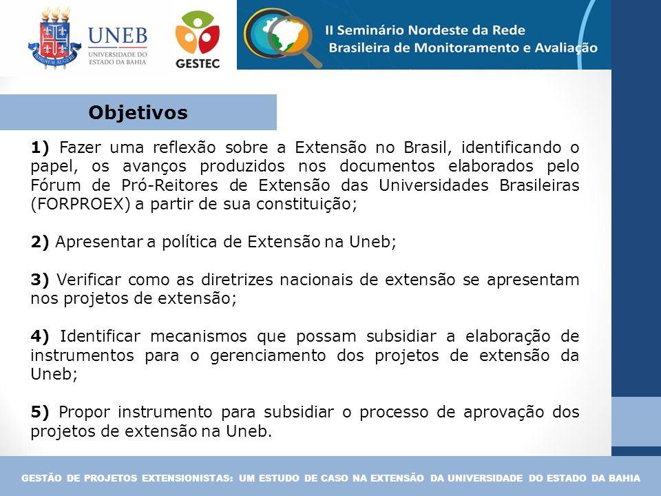 1) Fazer uma reflexão sobre a Extensão no Brasil, identificando o papel, os avanços produzidos nos documentos elaborados pelo Fórum de Pró-Reitores de