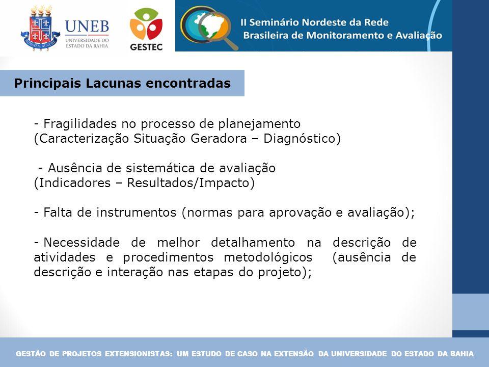 - Fragilidades no processo de planejamento (Caracterização Situação Geradora – Diagnóstico) - Ausência de sistemática de avaliação (Indicadores – Resu