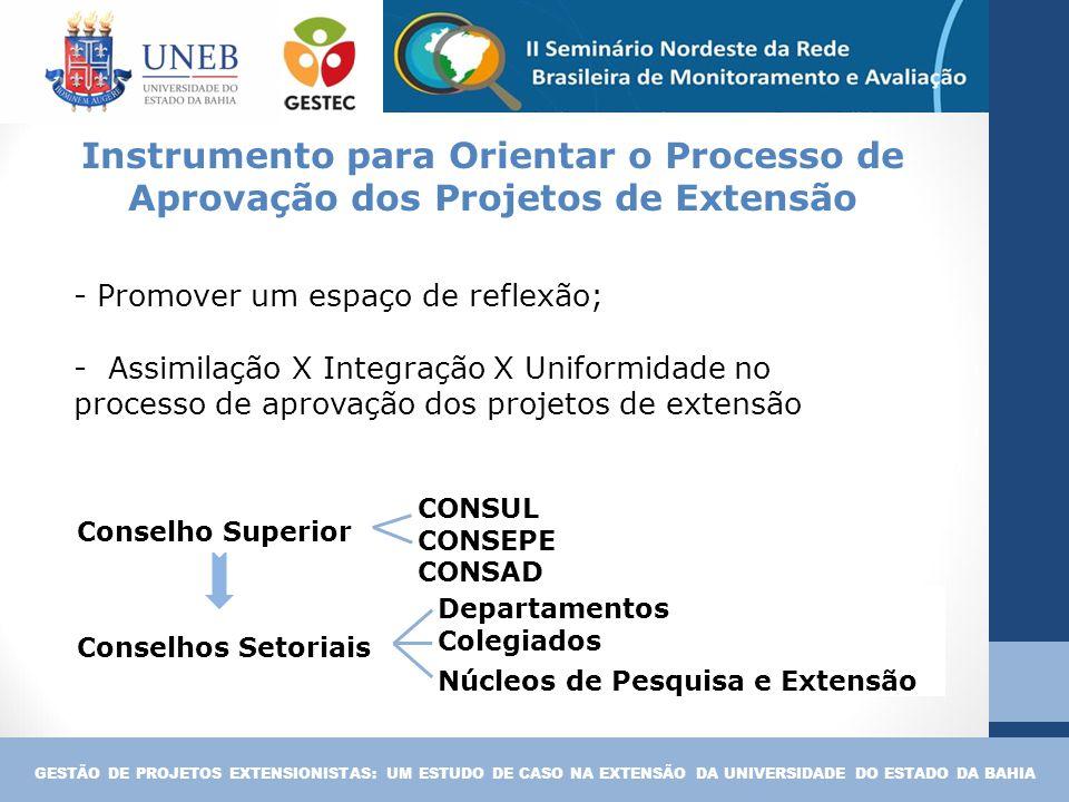 - Promover um espaço de reflexão; - Assimilação X Integração X Uniformidade no processo de aprovação dos projetos de extensão GESTÃO DE PROJETOS EXTEN