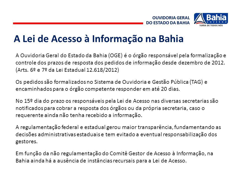OUVIDORIA GERAL DO ESTADO DA BAHIA OUVIDORIA GERAL DO ESTADO DA BAHIA A Lei de Acesso à Informação na Bahia A Ouvidoria Geral do Estado da Bahia (OGE)