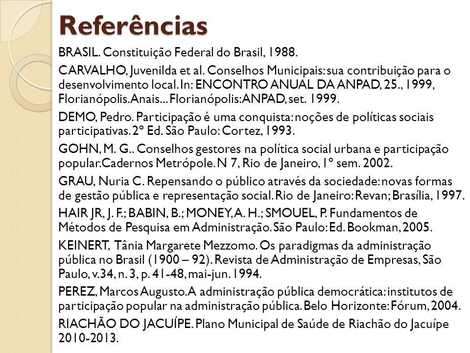 Referências BRASIL. Constituição Federal do Brasil, 1988.