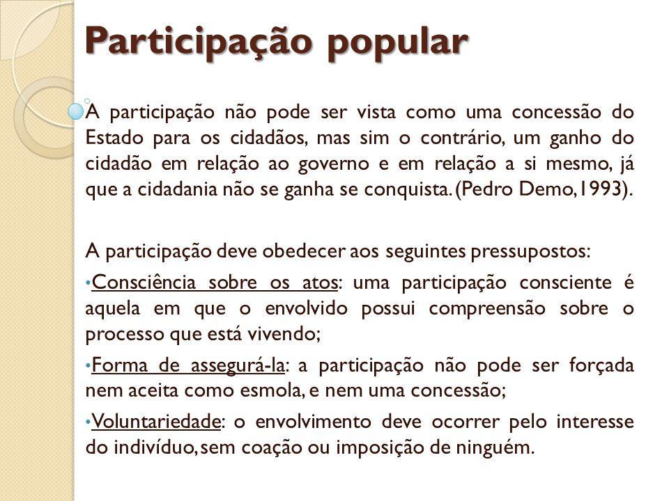 Participação popular A participação não pode ser vista como uma concessão do Estado para os cidadãos, mas sim o contrário, um ganho do cidadão em relação ao governo e em relação a si mesmo, já que a cidadania não se ganha se conquista.