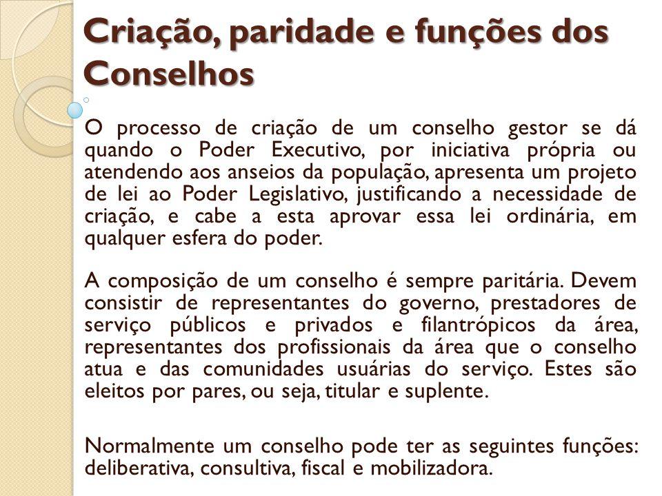 Conselhos de Saúde A institucionalização do SUS Art.