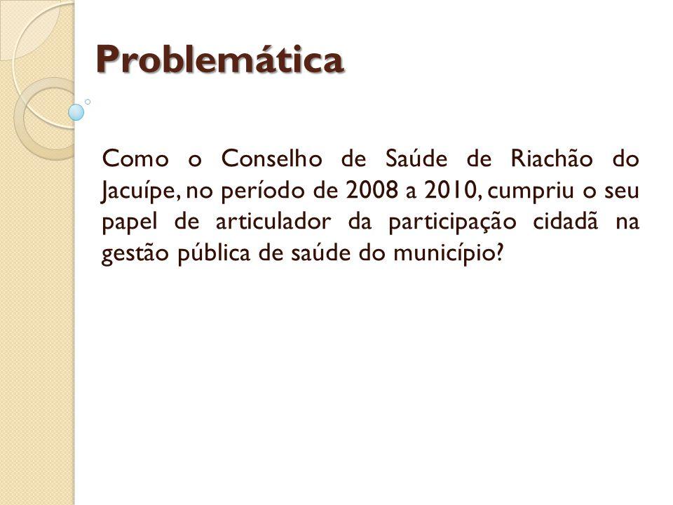 Problemática Como o Conselho de Saúde de Riachão do Jacuípe, no período de 2008 a 2010, cumpriu o seu papel de articulador da participação cidadã na gestão pública de saúde do município