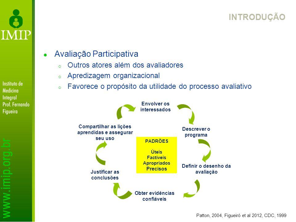 INTRODUÇÃO Avaliação Participativa o Outros atores além dos avaliadores o Apredizagem organizacional o Favorece o propósito da utilidade do processo a