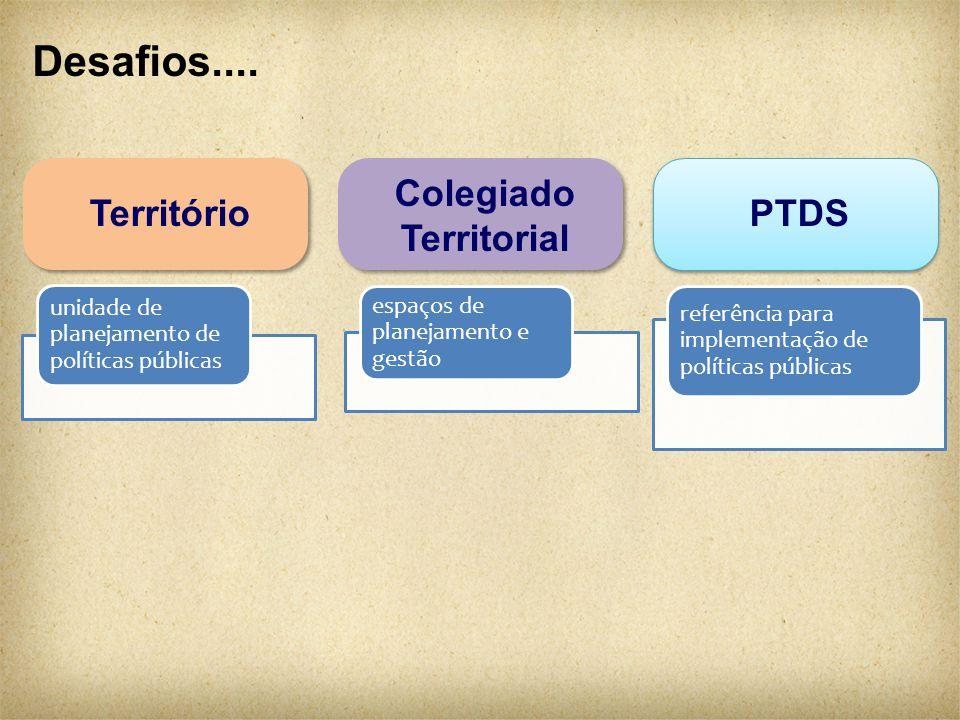 Desafios.... Colegiado Territorial PTDSTerritório unidade de planejamento de políticas públicas espaços de planejamento e gestão referência para imple