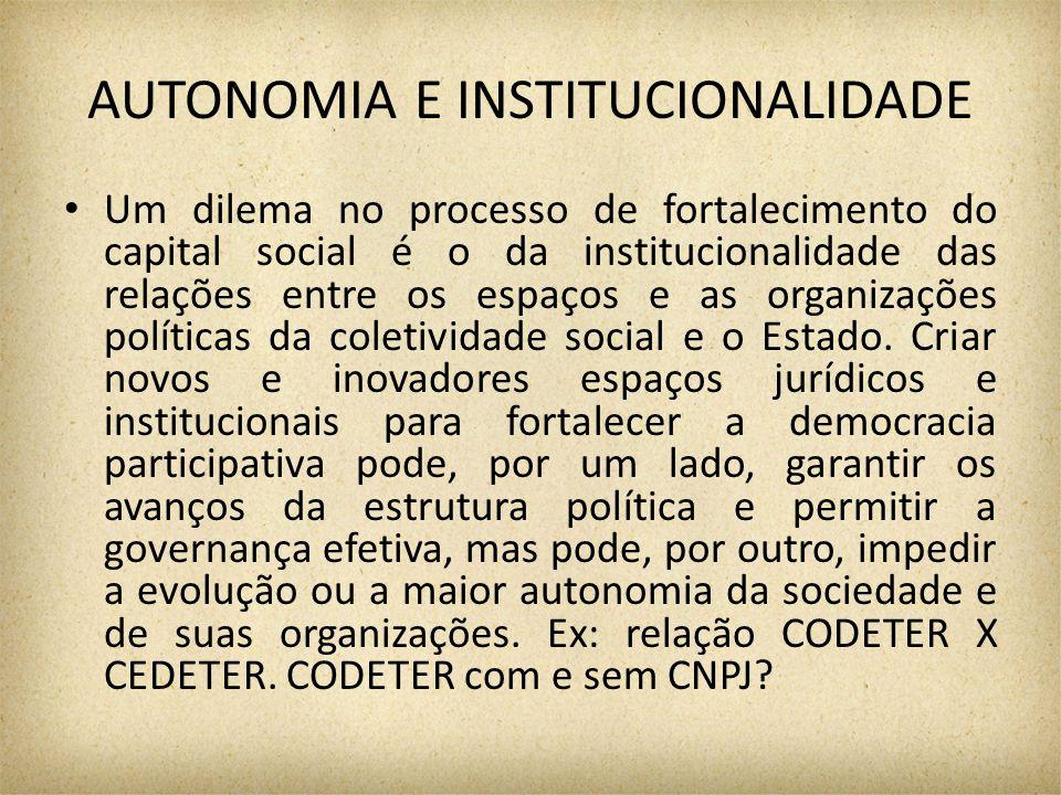 AUTONOMIA E INSTITUCIONALIDADE Um dilema no processo de fortalecimento do capital social é o da institucionalidade das relações entre os espaços e as organizações políticas da coletividade social e o Estado.