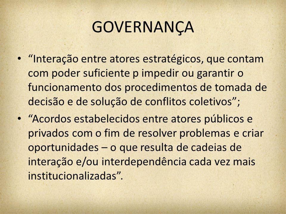 """GOVERNANÇA """"Interação entre atores estratégicos, que contam com poder suficiente p impedir ou garantir o funcionamento dos procedimentos de tomada de"""