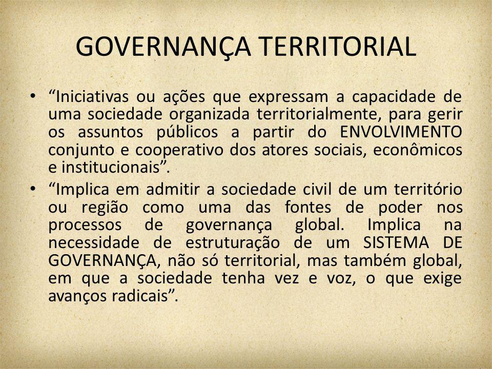GOVERNANÇA TERRITORIAL Iniciativas ou ações que expressam a capacidade de uma sociedade organizada territorialmente, para gerir os assuntos públicos a partir do ENVOLVIMENTO conjunto e cooperativo dos atores sociais, econômicos e institucionais .