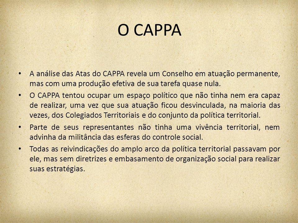 O CAPPA A análise das Atas do CAPPA revela um Conselho em atuação permanente, mas com uma produção efetiva de sua tarefa quase nula. O CAPPA tentou oc