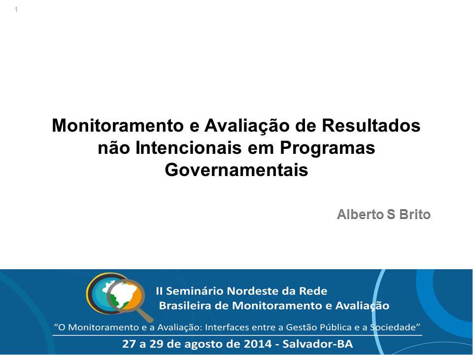 """© Alberto S. Brito – """"Monitoramento e Avaliação de Resultados não Intencionais em Programas Governamentais"""" 1"""