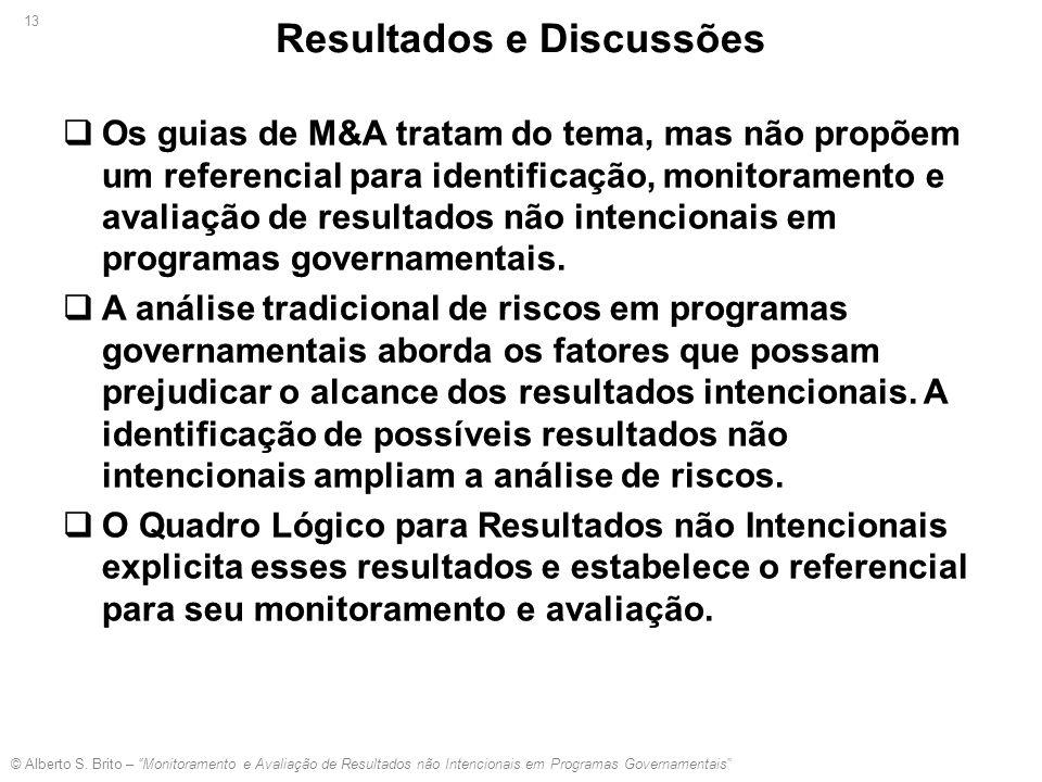 """© Alberto S. Brito – """"Monitoramento e Avaliação de Resultados não Intencionais em Programas Governamentais"""" 13"""