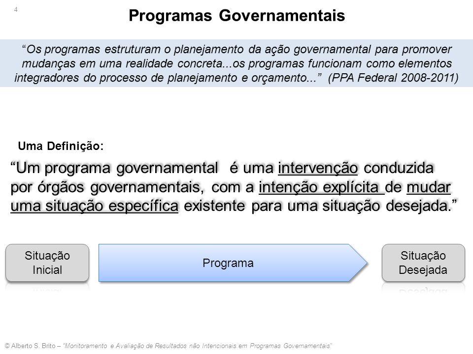 """Programa """"Um programa governamental é uma intervenção conduzida por órgãos governamentais, com a intenção explícita de mudar uma situação específica e"""