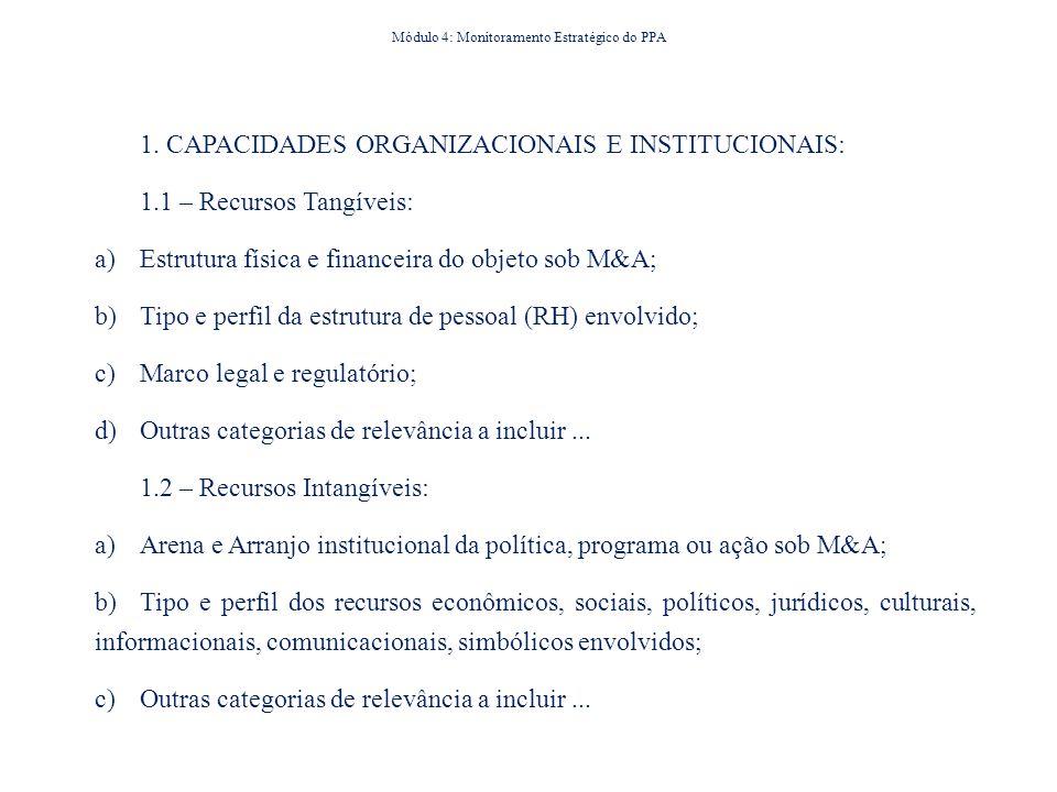 1. CAPACIDADES ORGANIZACIONAIS E INSTITUCIONAIS: 1.1 – Recursos Tangíveis: a) Estrutura física e financeira do objeto sob M&A; b) Tipo e perfil da est