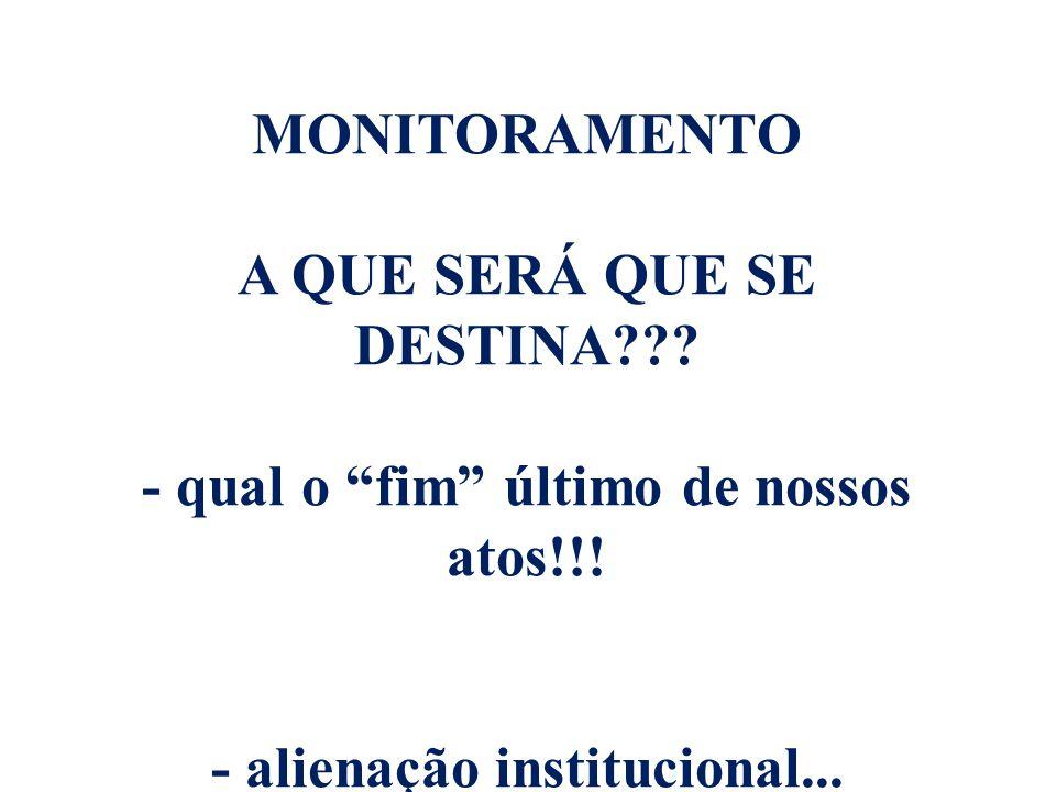 MONITORAMENTO A QUE SERÁ QUE SE DESTINA??.- qual o fim último de nossos atos!!.