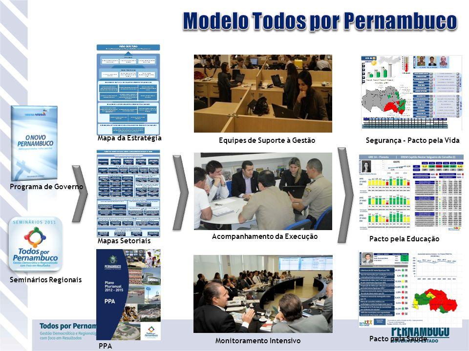 Programa de Governo Seminários Regionais Mapa da Estratégia Mapas Setoriais PPA Equipes de Suporte à Gestão Acompanhamento da Execução Monitoramento Intensivo Segurança - Pacto pela Vida Pacto pela Educação Pacto pela Saúde