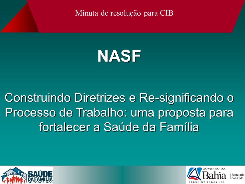 NASF Construindo Diretrizes e Re-significando o Processo de Trabalho: uma proposta para fortalecer a Saúde da Família Minuta de resolução para CIB