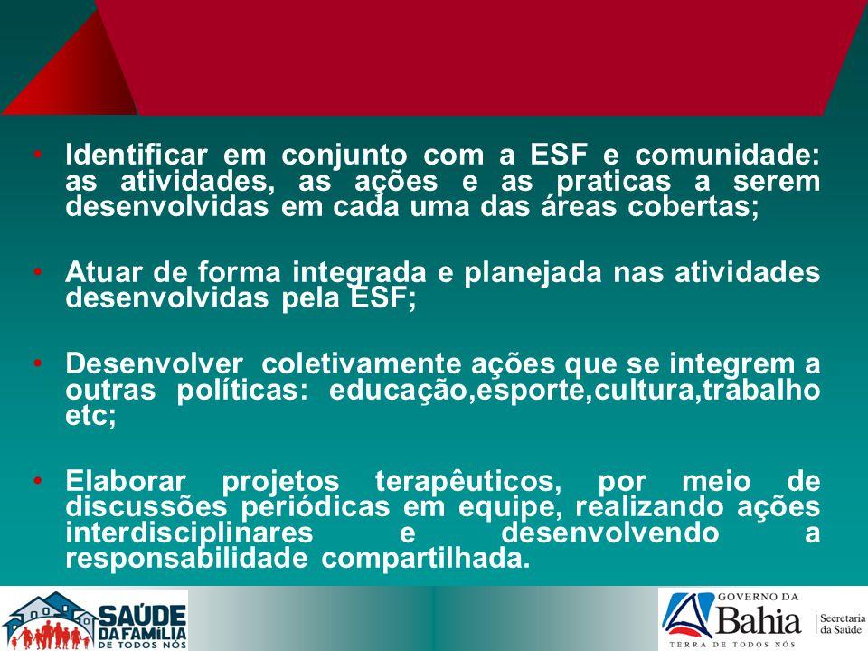 Identificar em conjunto com a ESF e comunidade: as atividades, as ações e as praticas a serem desenvolvidas em cada uma das áreas cobertas; Atuar de f