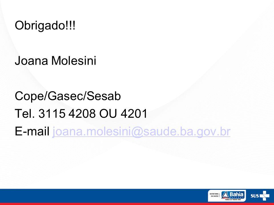 Obrigado!!! Joana Molesini Cope/Gasec/Sesab Tel. 3115 4208 OU 4201 E-mail joana.molesini@saude.ba.gov.brjoana.molesini@saude.ba.gov.br