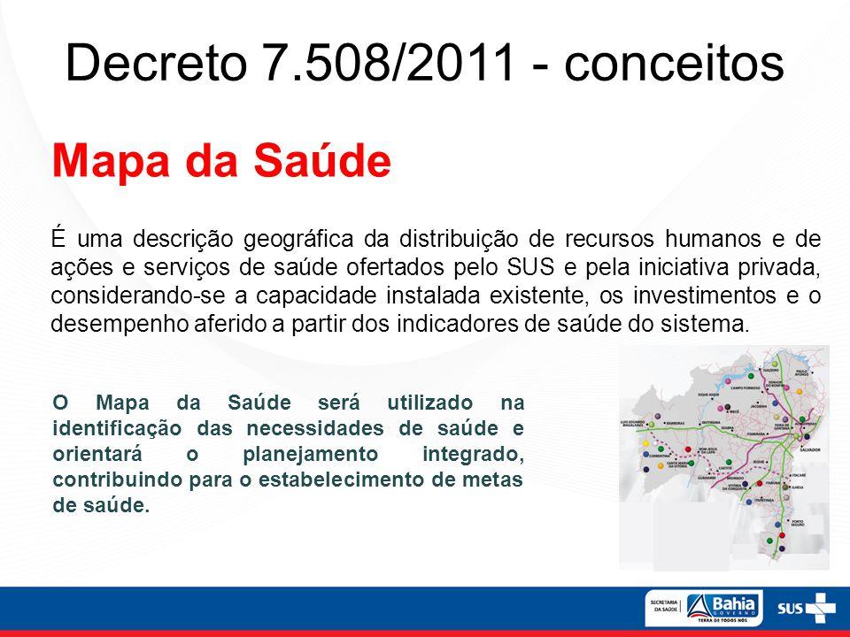 Decreto 7.508/2011 - conceitos Mapa da Saúde É uma descrição geográfica da distribuição de recursos humanos e de ações e serviços de saúde ofertados p