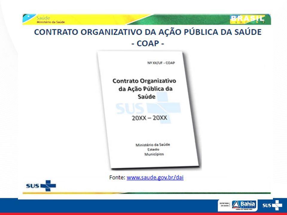 Estrutura do COAP PARTE I – Responsabilidades Organizativas Padrão Nacional PARTE II – Responsabilidades Executivas PARTE III – Responsabilidades Orçamentário-Financeiras e formas de incentivo PARTE IV – Responsabilidades pelo monitoramento, avaliação de desempenho e auditoria A vigência do COAP será de 04 anos.