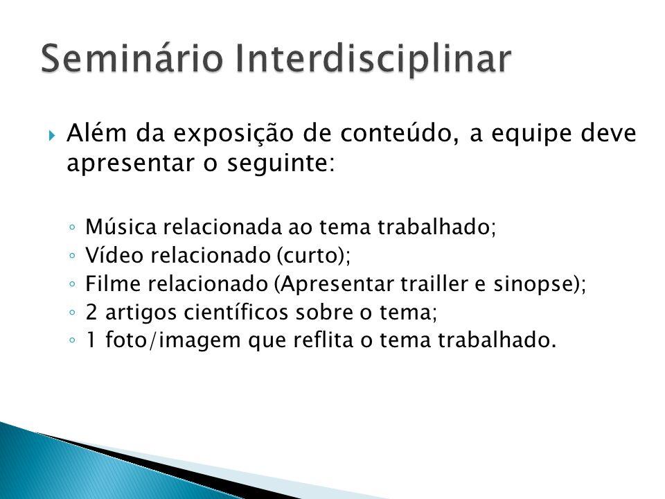  Além da exposição de conteúdo, a equipe deve apresentar o seguinte: ◦ Música relacionada ao tema trabalhado; ◦ Vídeo relacionado (curto); ◦ Filme re