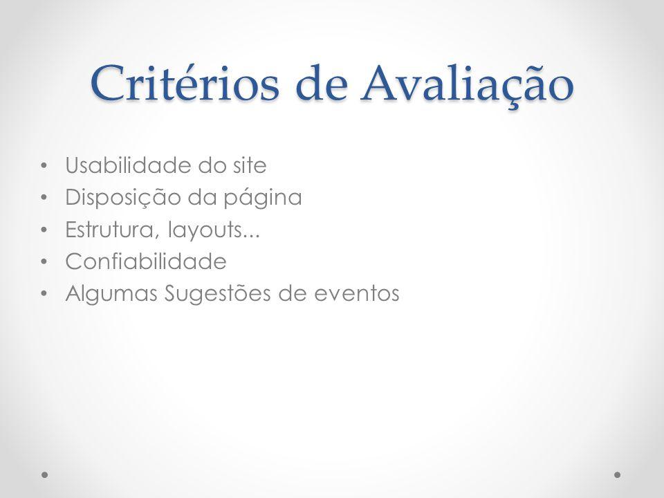 Critérios de Avaliação Usabilidade do site Disposição da página Estrutura, layouts...