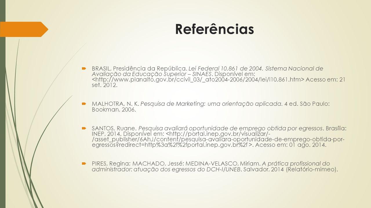 Referências  BRASIL, Presidência da República. Lei Federal 10.861 de 2004.