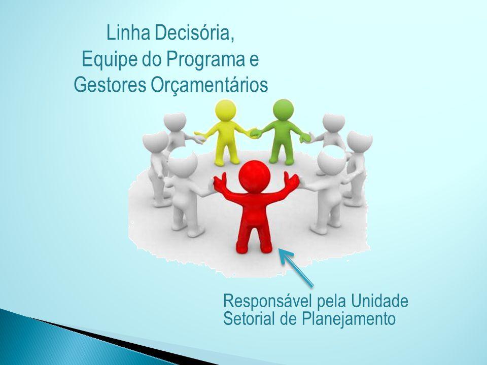 Responsável pela Unidade Setorial de Planejamento Linha Decisória, Equipe do Programa e Gestores Orçamentários