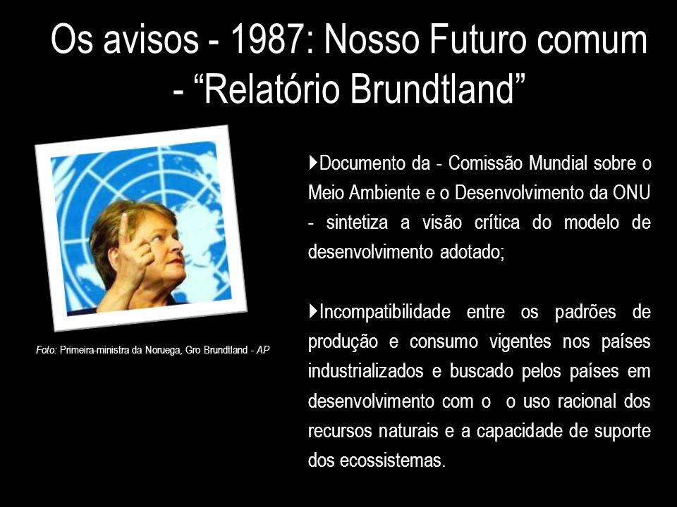 """Os avisos - 1987: Nosso Futuro comum - """"Relatório Brundtland""""  Documento da - Comissão Mundial sobre o Meio Ambiente e o Desenvolvimento da ONU - sin"""