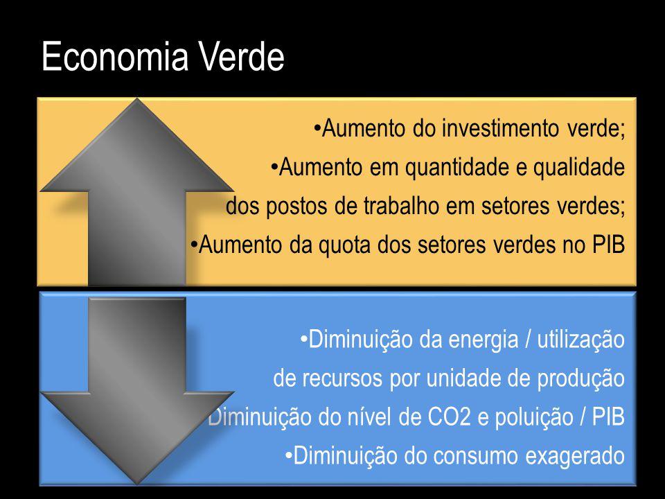Aumento do investimento verde; Aumento em quantidade e qualidade dos postos de trabalho em setores verdes; Aumento da quota dos setores verdes no PIB