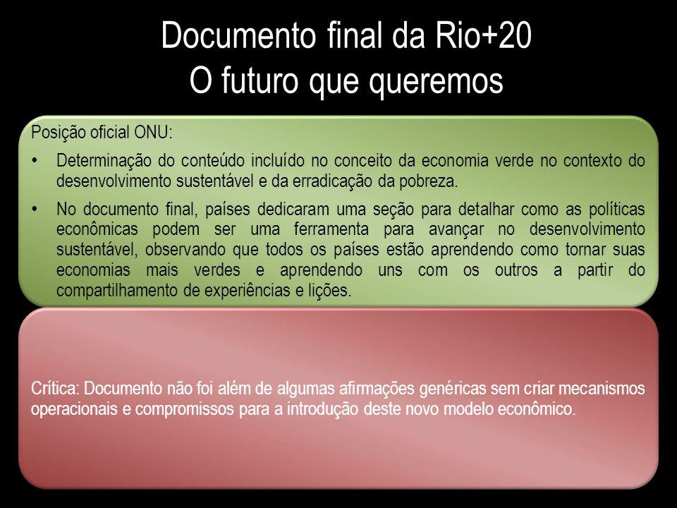 Documento final da Rio+20 O futuro que queremos Posição oficial ONU: Determinação do conteúdo incluído no conceito da economia verde no contexto do de
