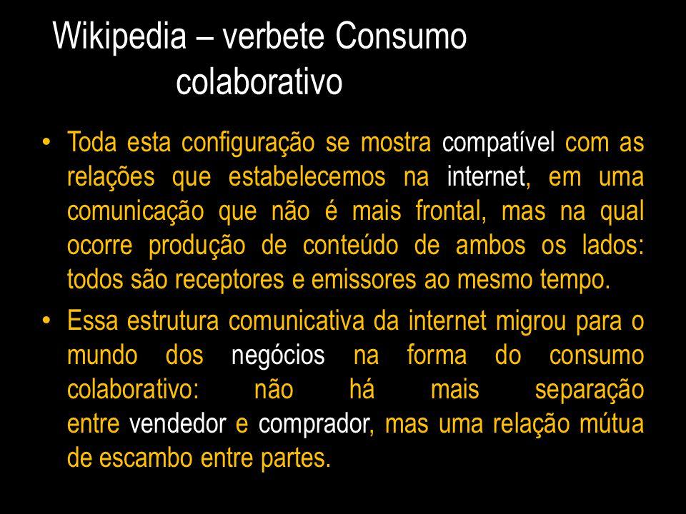 Wikipedia – verbete Consumo colaborativo Toda esta configuração se mostra compatível com as relações que estabelecemos na internet, em uma comunicação