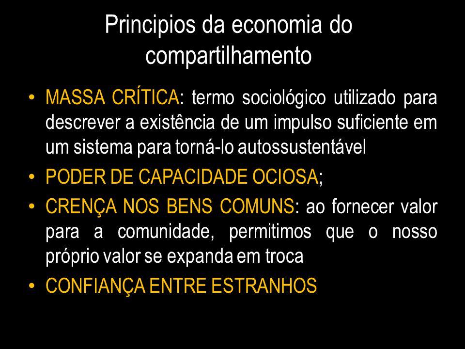 Principios da economia do compartilhamento MASSA CRÍTICA: termo sociológico utilizado para descrever a existência de um impulso suficiente em um siste