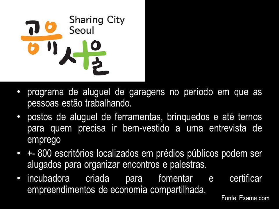 Seul (10 milhões de habitantes) - Sharing City – Cidade Colaborativa programa de aluguel de garagens no período em que as pessoas estão trabalhando. p