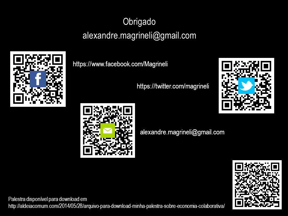 Obrigado alexandre.magrineli@gmail.com https://www.facebook.com/Magrineli https://twitter.com/magrineli alexandre.magrineli@gmail.com Palestra disponí