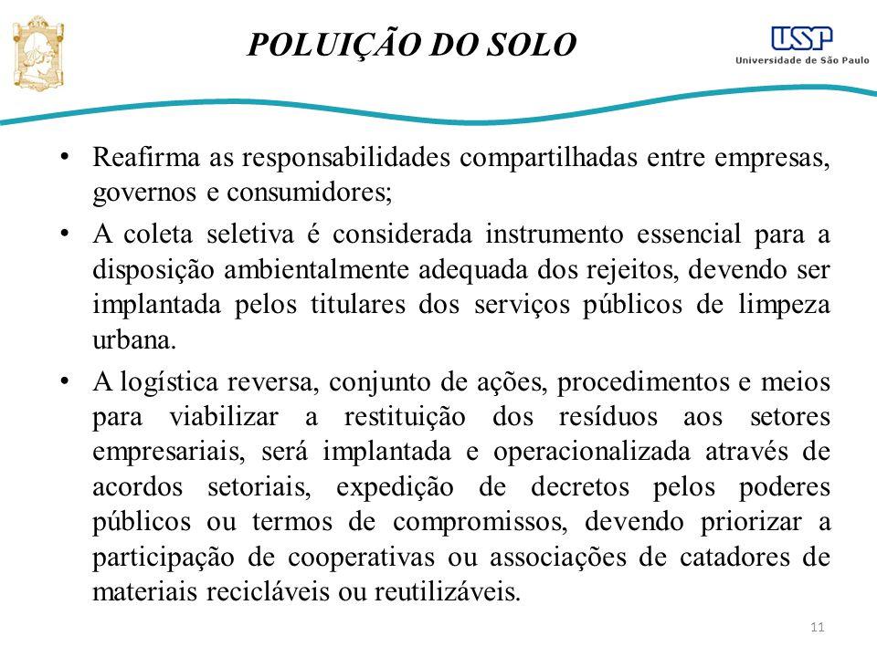 11 POLUIÇÃO DO SOLO Reafirma as responsabilidades compartilhadas entre empresas, governos e consumidores; A coleta seletiva é considerada instrumento