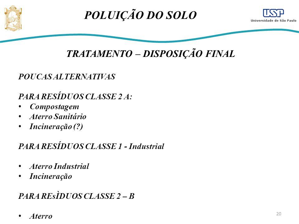 20 POLUIÇÃO DO SOLO TRATAMENTO – DISPOSIÇÃO FINAL POUCAS ALTERNATIVAS PARA RESÍDUOS CLASSE 2 A: Compostagem Aterro Sanitário Incineração (?) PARA RESÍDUOS CLASSE 1 - Industrial Aterro Industrial Incineração PARA REsÌDUOS CLASSE 2 – B Aterro