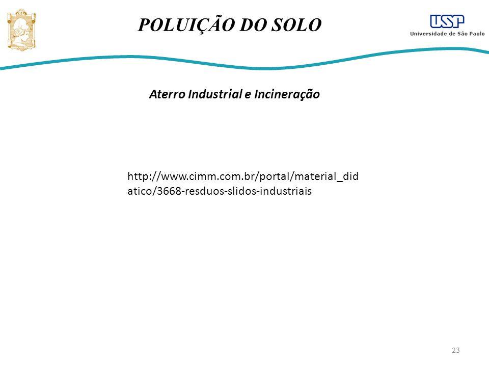 23 POLUIÇÃO DO SOLO Aterro Industrial e Incineração http://www.cimm.com.br/portal/material_did atico/3668-resduos-slidos-industriais