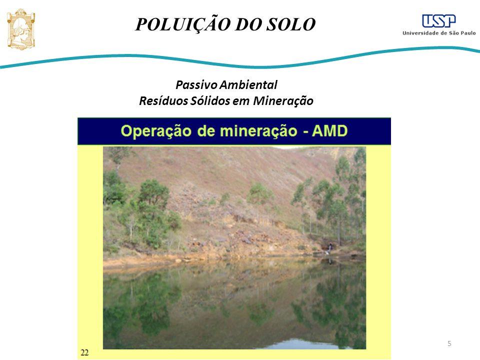 5 POLUIÇÃO DO SOLO Passivo Ambiental Resíduos Sólidos em Mineração