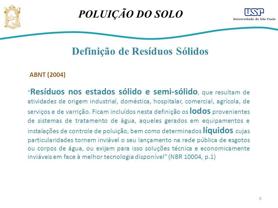 6 Definição de Resíduos Sólidos Resíduos nos estados sólido e semi-sólido, que resultam de atividades de origem industrial, doméstica, hospitalar, comercial, agrícola, de serviços e de varrição.